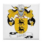Lopez Family Crest Tile Coaster