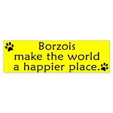 Happy Place Borzoi Bumper Bumper Sticker