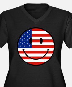 Patriotic Smiley Face Women's Plus Size V-Neck Dar