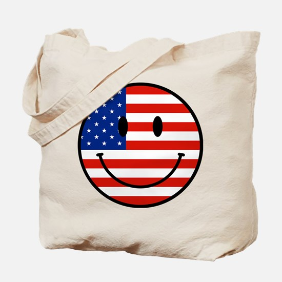 Patriotic Smiley Face Tote Bag