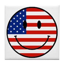 Patriotic Smiley Face Tile Coaster