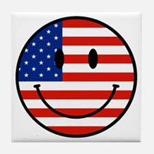 Patriotic Smiley Face Tile Coaster