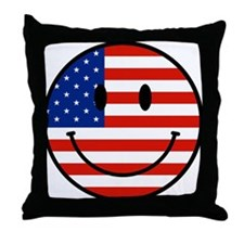 Patriotic Smiley Face Throw Pillow