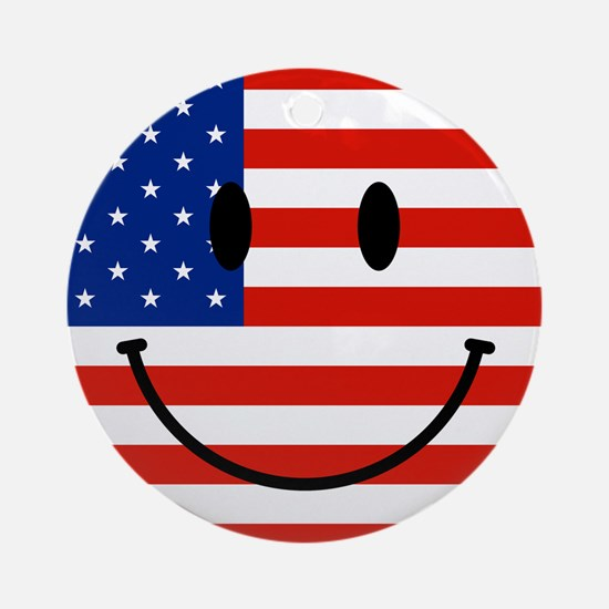 Patriotic Smiley Face Ornament (Round)