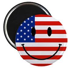 "Patriotic Smiley Face 2.25"" Magnet (10 pack)"
