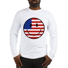 Patriotic Smiley Face Long Sleeve T-Shirt