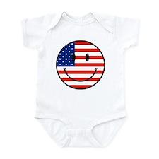 Patriotic Smiley Face Infant Bodysuit