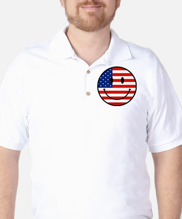 Patriotic Smiley Face Golf Shirt