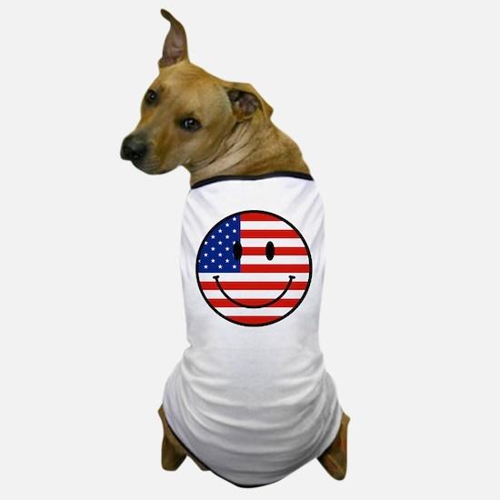 Patriotic Smiley Face Dog T-Shirt