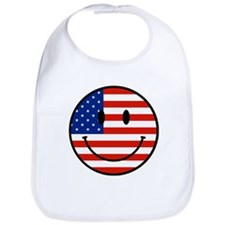Patriotic Smiley Face Bib