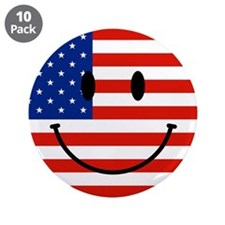 """Patriotic Smiley Face 3.5"""" Button (10 pack)"""