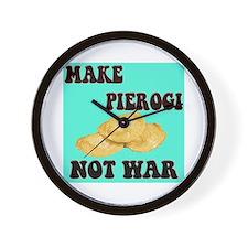 MAKE PIEROGI NOT WAR Wall Clock