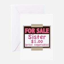 For Sale Sister $1 Greeting Card