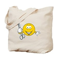 Smiley Face With Scissors Tote Bag