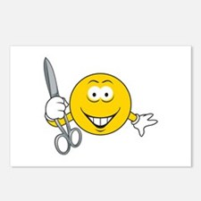Smiley Face With Scissors Postcards (Package of 8)