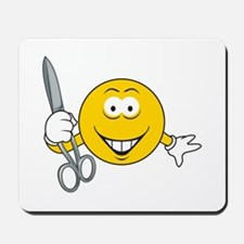 Smiley Face With Scissors Mousepad