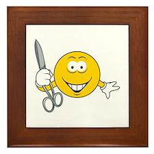 Smiley Face With Scissors Framed Tile