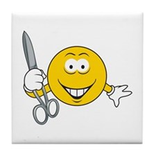Smiley Face With Scissors Tile Coaster