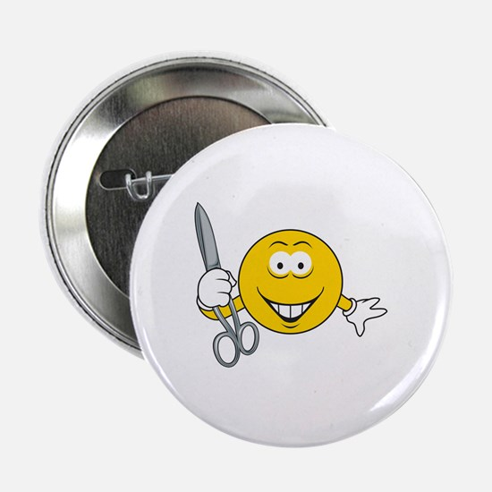 """Smiley Face With Scissors 2.25"""" Button"""