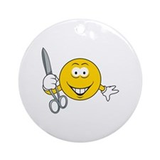 Smiley Face With Scissors Ornament (Round)