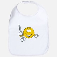 Smiley Face With Scissors Bib