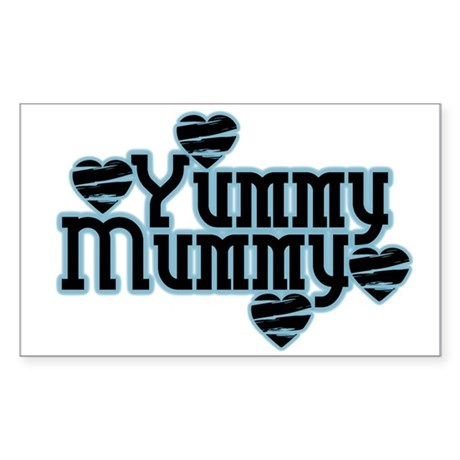 Blue Yummy Mummy Rectangle Sticker 50 pk)
