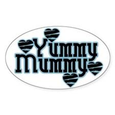 Blue Yummy Mummy Oval Decal