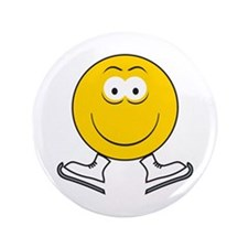 """Ice Skating Smiley Face 3.5"""" Button"""