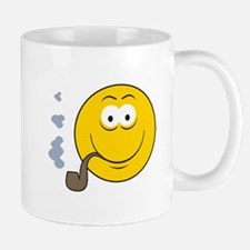Pipe Smoking Smiley Face Mug
