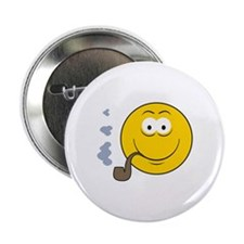 """Pipe Smoking Smiley Face 2.25"""" Button"""