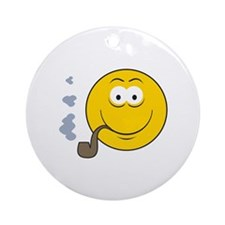 Pipe Smoking Smiley Face Ornament (Round)