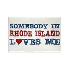 Somebody in Rhode Island Loves Me Rectangle Magnet