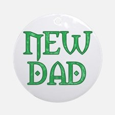 Green Carved New Dad Ornament (Round)