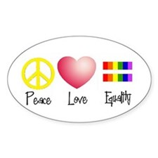 Peace, Love, Equality Oval Decal