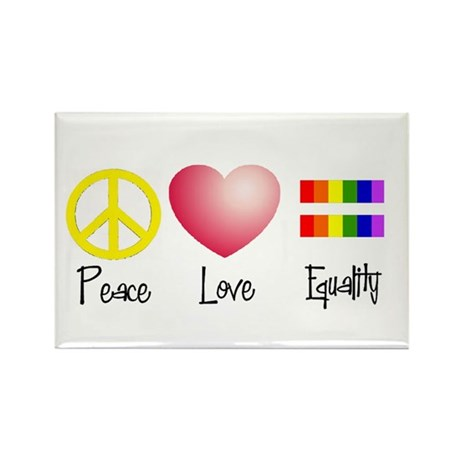 Peace, Love, Equality Rectangle Magnet