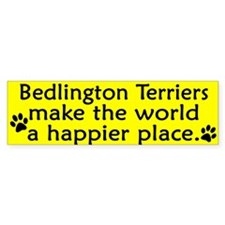Happy Place Bedlington Terrier Bumper Car Sticker