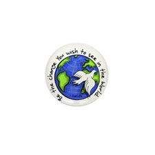 World Peace Gandhi - Funky Stroke Mini Button