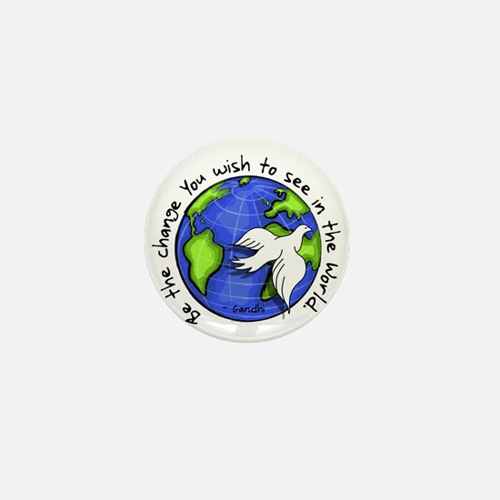 World Peace Gandhi - Funky Stroke Mini Button
