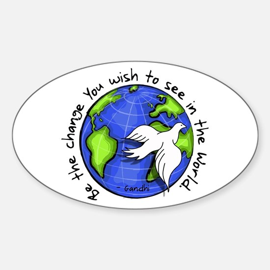 World Peace Gandhi - Funky Stroke Oval Decal