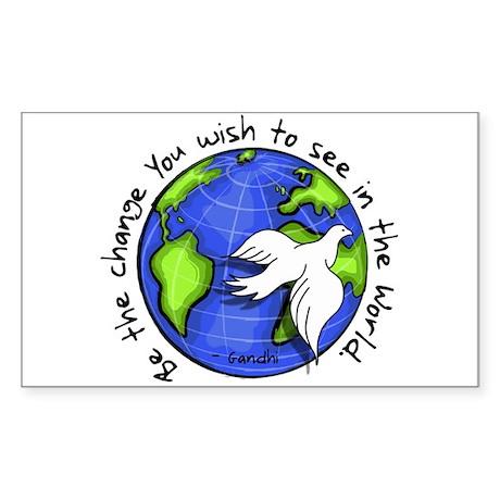 World Peace Gandhi - Funky Stroke Sticker (Rectang