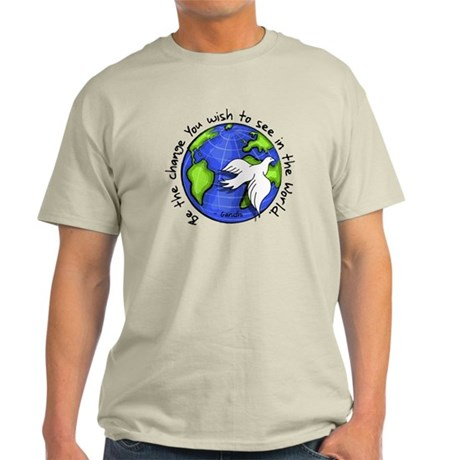 World Peace Gandhi - Funky Stroke Light T-Shirt
