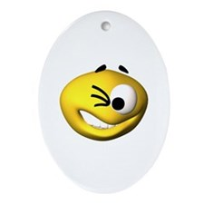 Goofy Winking Face Oval Ornament
