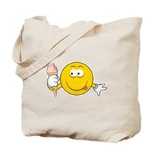 Ice Cream Cone Smiley Face Tote Bag