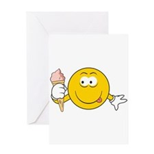 Ice Cream Cone Smiley Face Greeting Card