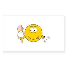Ice Cream Cone Smiley Face Rectangle Decal