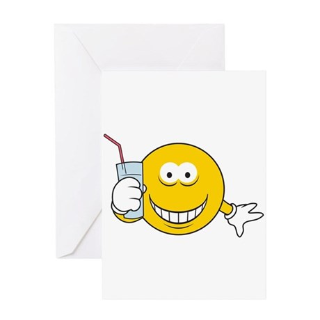 Thirsty Smiley Face Greeting Card by dagerdesigns