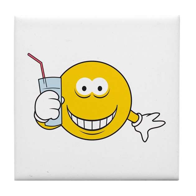 Thirsty Smiley Face Tile Coaster by dagerdesigns