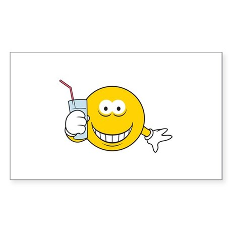 Thirsty Smiley Face Rectangle Decal by dagerdesigns