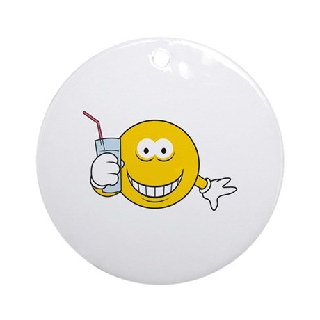Thirsty Smiley Face Ornament (Round) by dagerdesigns
