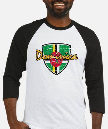 Dominica distressed Flag Baseball Jersey
